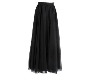 ファンタジーシャンブレーロングスカート 黒/3020(裾周り約760㎝)
